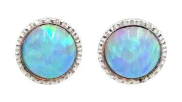 Pair of silver round opal stud earrings