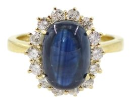 18ct gold cabochon sapphire and diamond cluster ring