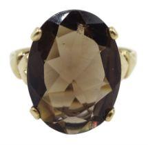 9ct gold single stone oval smoky quartz ring