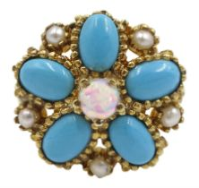 Silver-gilt turquoise