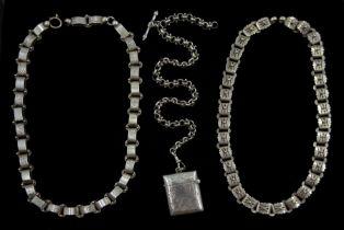 Victorian silver fancy link Albert chain with vesta case makers mark J.G