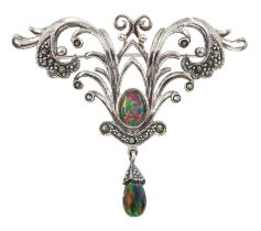 Silver opal and marcasite brooch