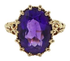 9ct gold single stone oval amethyst ring