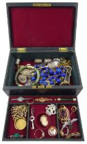 Victorian and later jewellery including gold bar brooch set with a diamond