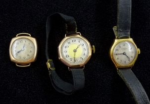 J W Benson early 20th century 18ct gold ladies manual wind wristwatch