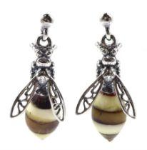 Pair of silver amber bee pendant stud earrings