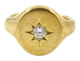 18ct gold gentleman's single stone diamond gypsy set ring