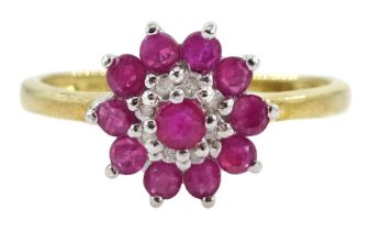 Silver-gilt ruby and diamond cluster ring