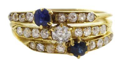 18ct gold diamond and sapphire trinity ring