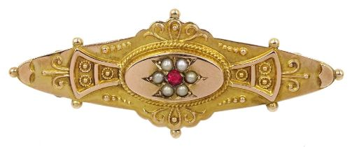 Victorian 9ct gold pink stone and split seed pearl bar brooch
