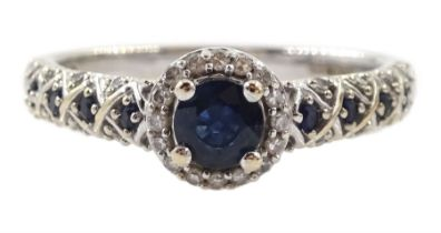 18ct white gold round sapphire and diamond cluster ring
