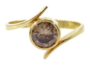 18ct gold fancy champagne colour diamond bezel set ring