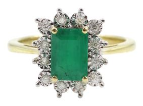 9ct gold emerald and round brilliant cut diamond cluster ring
