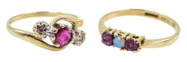 Gold amethyst and opal three stone ring and a gold ruby and diamond three stone ring