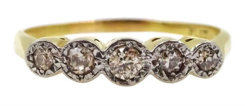 18ct gold five stone old cut diamond ring