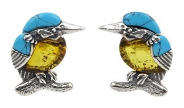 Pair of silver Baltic amber and turquoise kingfisher stud earrings