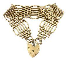 9ct gold seven bar gate bracelet