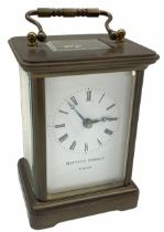 20th century Matthew Norman eight-day timepiece Carriage Clock with a lever platform escapement