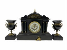 A late 19th century French eight-day twin train rack striking mantle clock striking the hours and ha