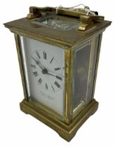 A French 20th century Anglaise cased 8-day timepiece carriage clock with a seven jewelled lever plat