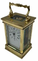 A 20th century Anglaise cased 8-day timepiece carriage clock with a seven jewelled lever platform es