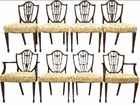 Set eight (6+2) early 20th century Hepplewhite style mahogany dining chairs