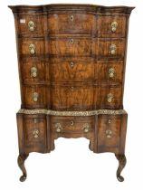 Queen Anne style walnut serpentine chest on stand