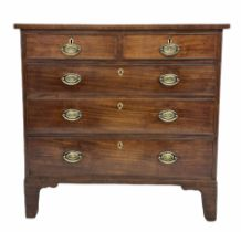 George III mahogany chest fitted with two short and three long cock beaded drawers with plate brass