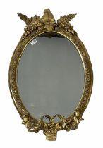 19th century giltwood and gesso girandole oval wall mirror
