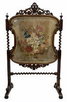 Victorian rosewood fire screen