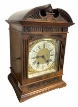Late 19th century striking mantle clock in architectural walnut case