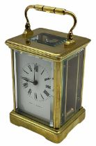 A 20th century Corniche cased 8-day timepiece carriage clock with a seven jewelled lever platform es