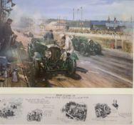 After Terence Cuneo (British 1907-1996): 'Bentleys at Le Mans 1929' colour print 73cm x 78cm