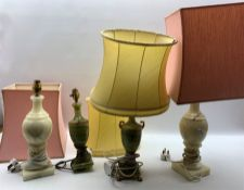 Pair of Onyx table lamps and a pair of alabaster table lamps
