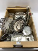 Collection of silver-plate to include a pierced comport