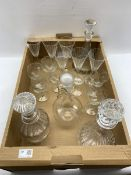 MCG glass decanter and six matching glasses