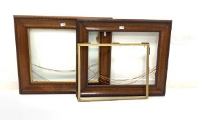 Pair of oak picture frames with gilt slips