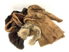 A group of vintage furs to include a fox shawl