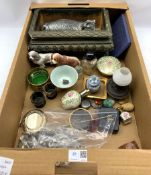 Small collectables including a miniature Chinese jar and cover