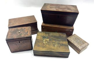 19th century inlaid satinwood tea caddy