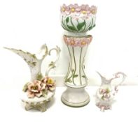 Group of Italian and similar pottery to include a jardiniere and stand