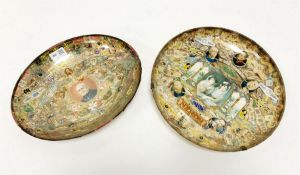 Two early to mid 20th century bowls decoupage decorated with cigar labels (2)