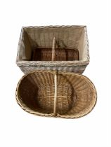 Rectangular wicker log basket L58cm and two other wisher baskets (3)