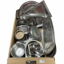 Old Hall and Danish stainless steel table ware including tea trays