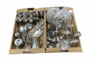 Set of six pewter goblets