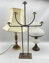 Brass oil lamp with fluted frosted glass shade and similar reservoir