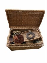 Large wicker basket containing various other wicker baskets L80cm x H47cm max