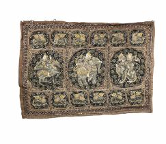20th century Burmese wall hanging with embroidered and sequin embellished decoration