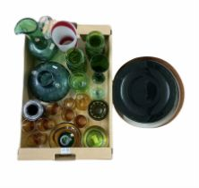 Polish and other coloured glassware to include a set of eight green glass plates