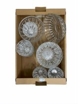 Cut glass dessert service and a matching bowl in one box